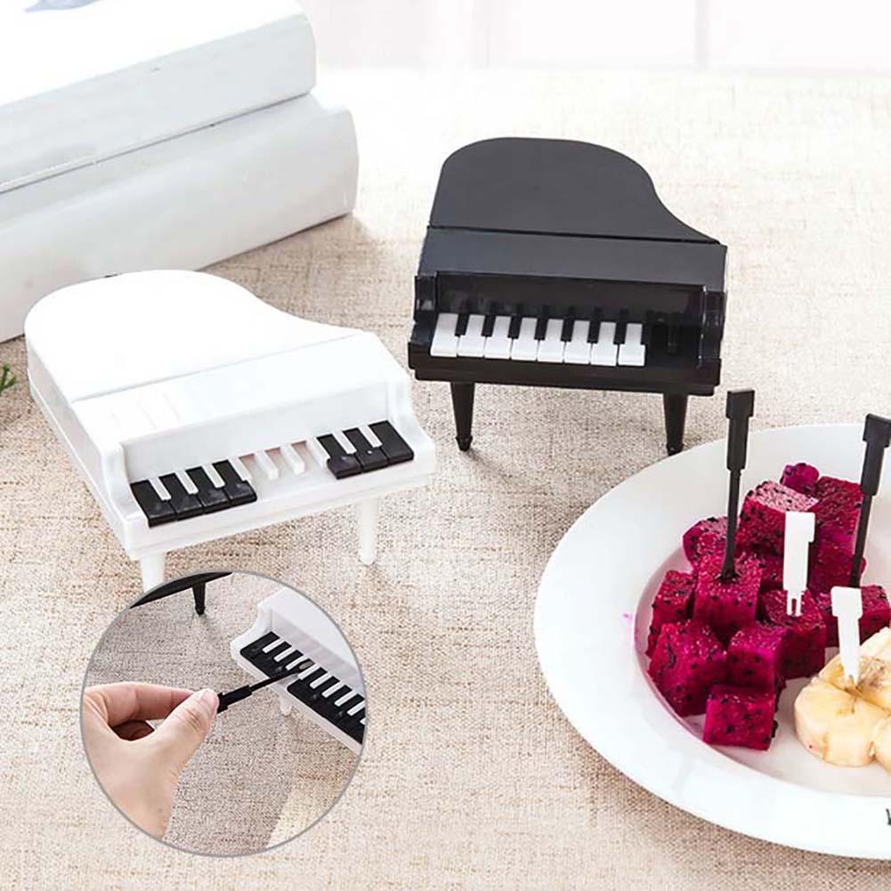 9 Uds Piano fruta Forks casa postre de pastel de merienda palillos de dientes cubiertos vajilla garfo fruta