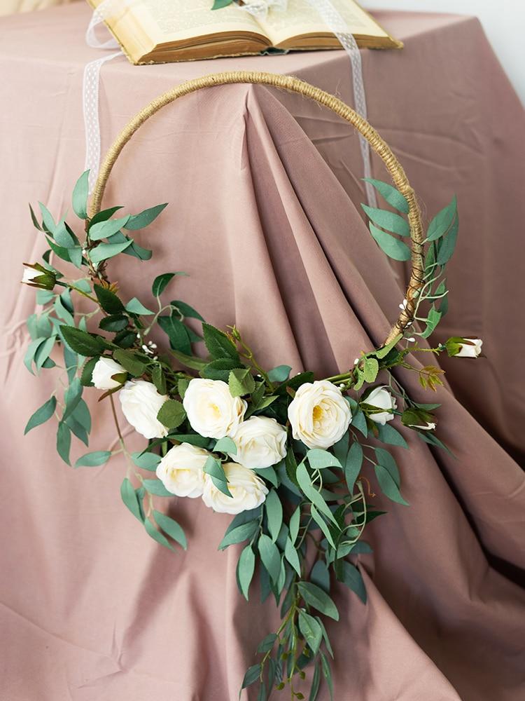 SESTHFAR-إكليل من الزهور الاصطناعية ، إكليل الزفاف ، سلة تحمل الزهور ، للزينة