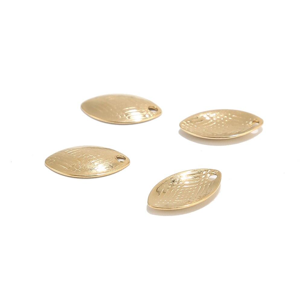 20 piezas de acero inoxidable, colgante ovalado de ojo de caballo curvado en oro, 14,5x9mm, colgantes geométricos, abalorios ovalados, hallazgos
