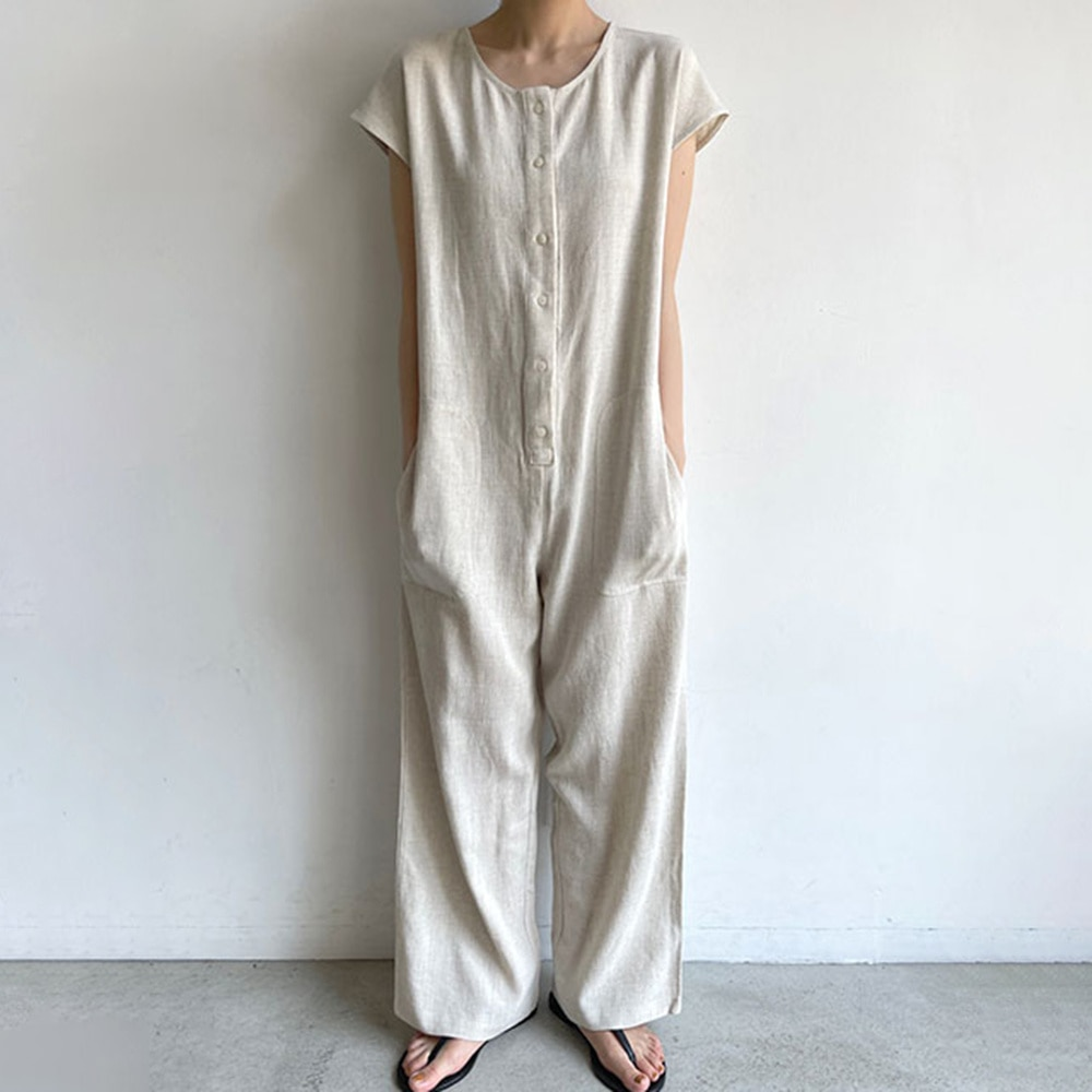 2021 Summer New Japanese Style Solid Color Casual Loose Single-breasted Round Neck Summer Jumpsuit F