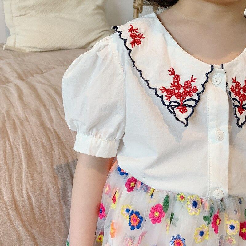 NOVEDAD DE VERANO 3404 2020, camisa coreana bordada para niños, camisa de muñeca para niña, blusas Flora a cuadros para niños, blusas de Color blanco para niñas