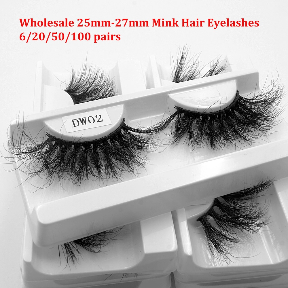 Eye Lashes 100% Mink Hair Wholesale 6/20/50/100 Pairs 25mm-27mm Dramatic Long Eyelashes Makeup Bulk Sale Pack with tray no box