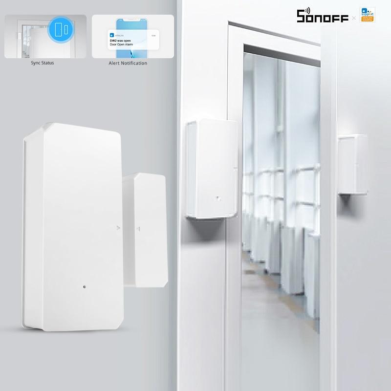 SONOFF DW2 WiFi Sensor de ventana de puerta inalámbrico detectores abiertos/cerrados e-welink APP para Smart House Smart ALARMA DE SEGURIDAD PARA EL HOGAR
