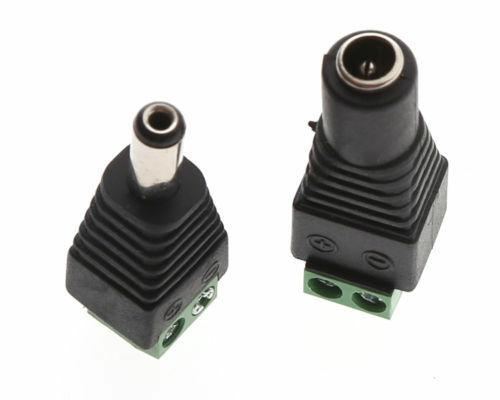 Купить с кэшбэком 10pcs 12V 2.1 X 5.5mm DC Power Male Plug Jack Adapter Connector Plug For CCTV Single Color LED Light