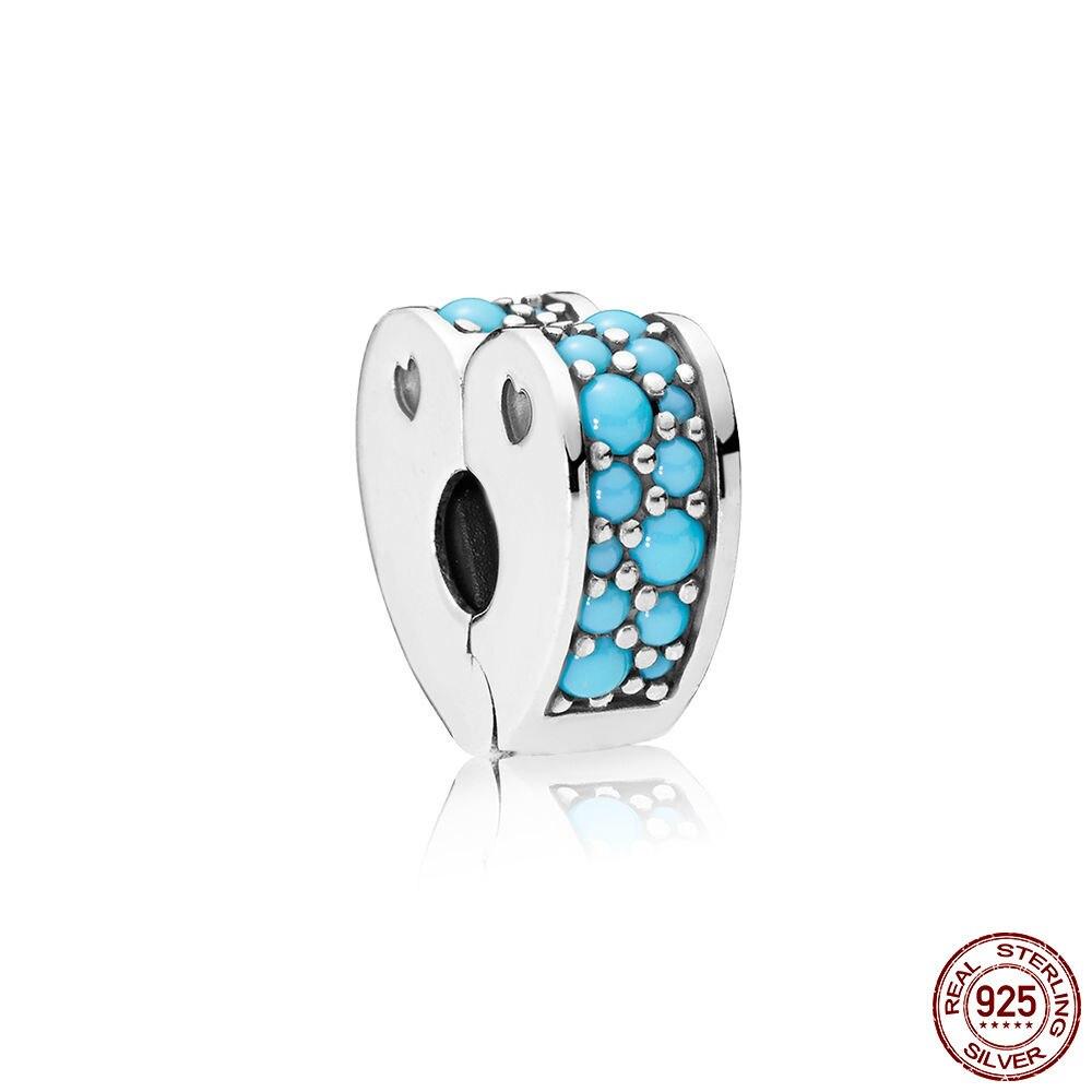Moda Prata Esterlina 925 Beads Ciano Azul Arcos De Amor Encantos Clipe fit Original Pulseiras Pandora DIY Jóias Para As Mulheres