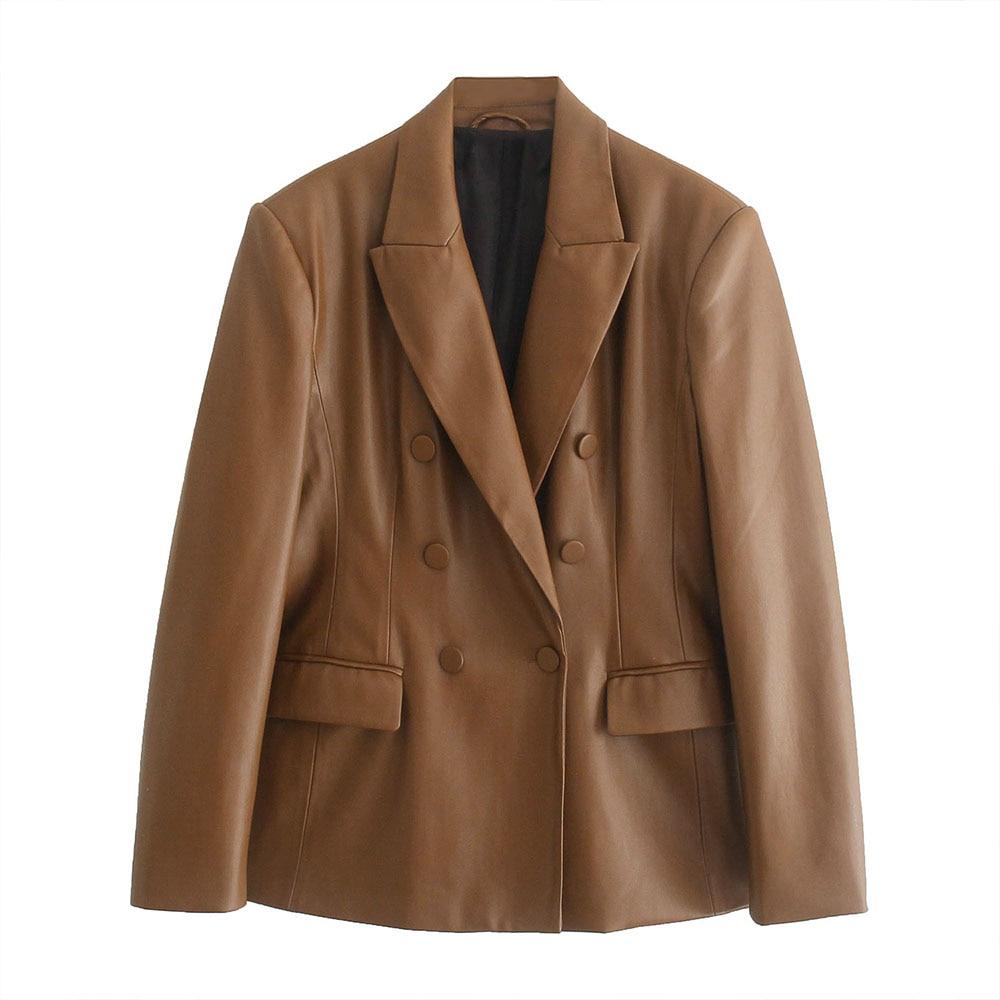 موضة خريف 2021 Za سترة نسائية جلد موضة جديدة معطف عتيق بأكمام طويلة وجيوب ملابس خارجية نسائية أنيقة