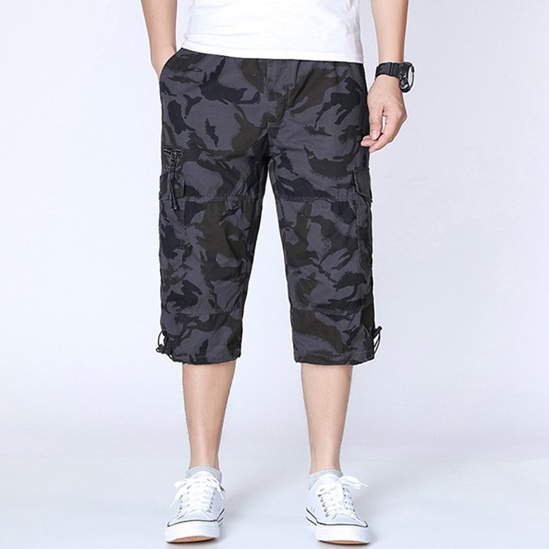 Фото - BALDAUREN Summer Tooling Cropped Trousers Men's Loose Plus Size Cotton Trousers Multi-Pocket Casual Shorts Hot Sale new style plus size women s trousers loose zebra pattern casual trousers