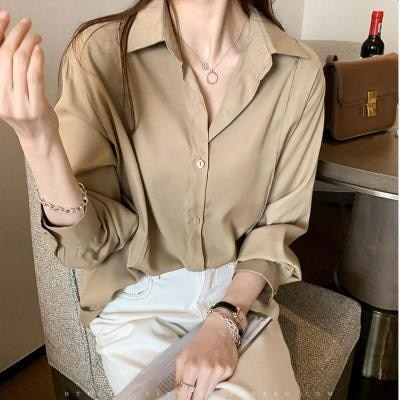 Women's Buttoned Shirts Autumn New Turndown Collar Single-breasted Solid Blouse LadiesTops Office Wo