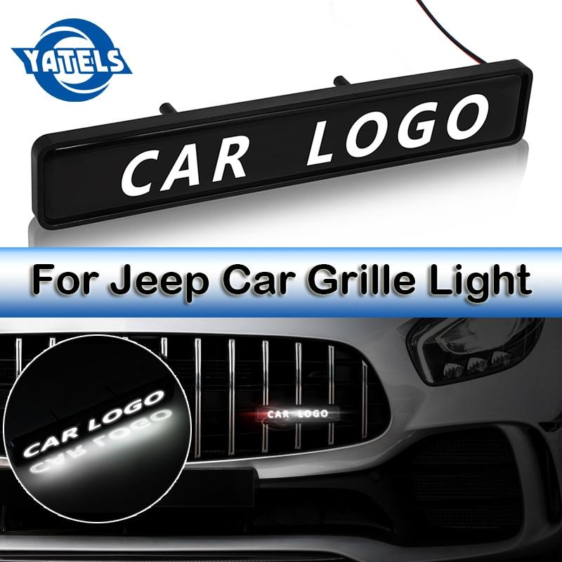 3D стикер логотипа автомобиля хромированная решетка из АБС-пластика значок логотипа светодиодные декоративные огни для Jeep Compass Renegade Wrangler JK TJ Grand Cherokee