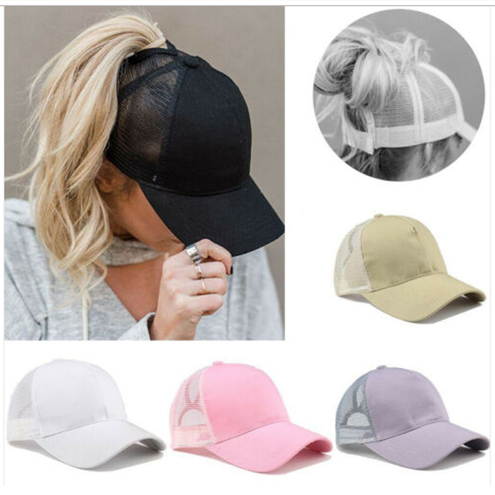 Gorra de camionero, gorra de béisbol con visera de malla curvada, gorras lisas ajustables