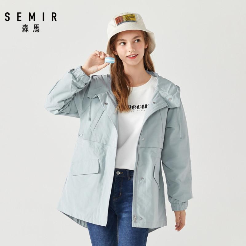 SEMIR 2019 spring and autumn new casual jacket female drawstring hooded pocket sports jackets windbreak tide