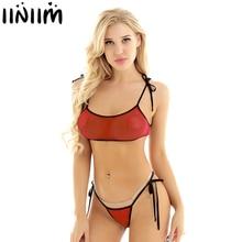 Iiniim Vrouwen Zomer Bikini Set See Through Sheer Badpak Mini Badmode Self-tie Micro Bh Top met G-String thong Ondergoed