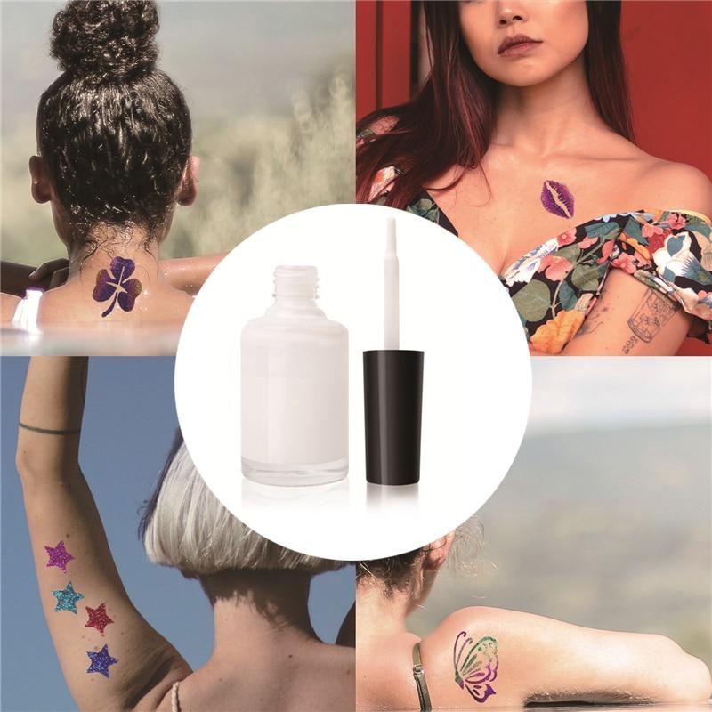 Uds.-polvo brillante semipermanente para tatuaje, pegamento en polvo brillante de una sola...