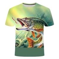 summer the latest 2020 fish outdoor t shirt man 3d cool print fishing men short tops 0collar casual men fishing t shirt poissons