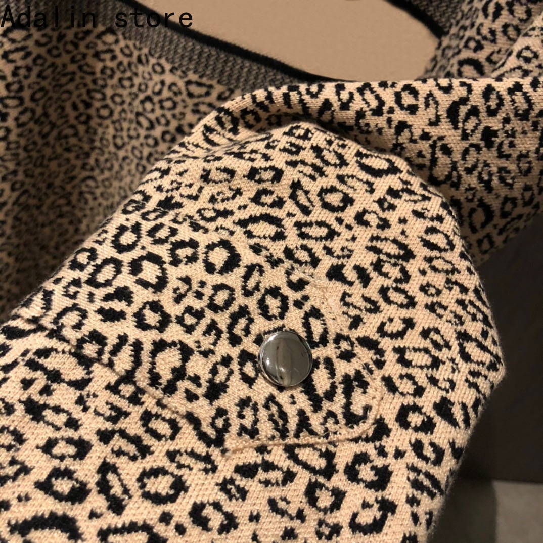 2021 high quality autumn and winter new fashion women's leopard letter printed top hooded knitted sweater large version Cloak enlarge
