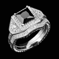 fashion ring zircon european and american style black square double ring jewelry ladies ring jewelry