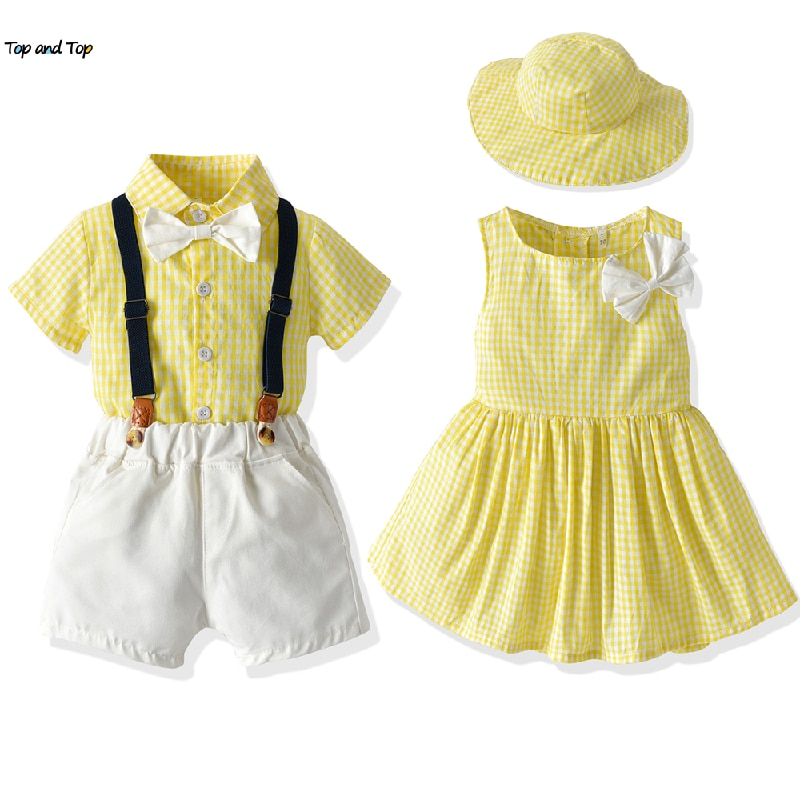 aliexpress.com - top and top Plaid Brother and Sister Kids Matching Outfits Boys Gentleman Suit+Princess Girls Tutu Dress Sets Children Clothes