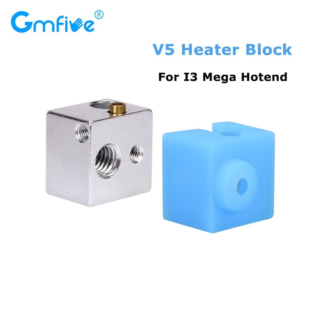 GmFive V5 Heater Block V5 Silicone Socks For Anycubic I3 Mega Hotend J-head Hotend vs V6 Hotend Heat Block  3D Printer Parts