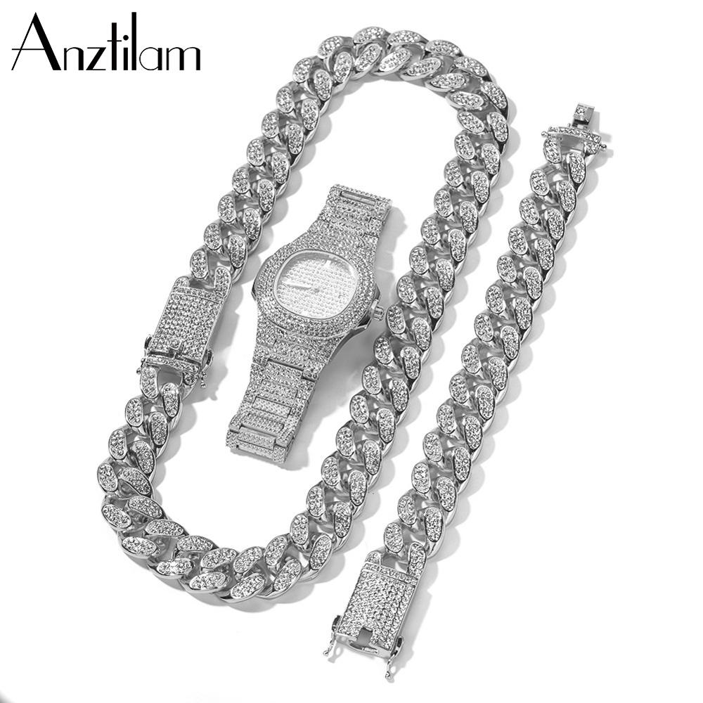 20mm Hip Hop  Cuban Link Chain Set Necklace +Watch+Bracelet  Miami Chain  Sets Iced Out Jewelry Sets