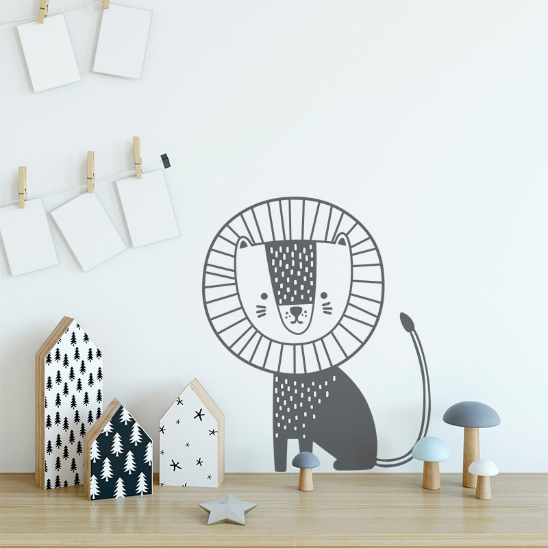 Pegatinas de pared de Leones de estilo nórdico para habitación de niños, pegatinas de pared de Arte de animales de dibujos animados, vinilo de PVC para decoración del hogar, decoración de la habitación del bebé
