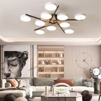 minimalist modern round led iron wood multi head color chandelier lighting for bedroom dining living room home deco hanging lamp