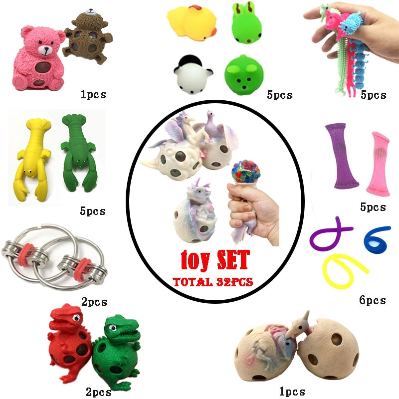 Dinosaur Squeeze Toys Interseting Combination 32 Pieces Extrusive-Solving Fidget Kids  Various Styles Set Wholesale