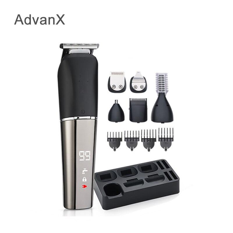 AdvanX مشابك شعر 6 في 1 أدوات للعناية الشخصية المتقلب ماكينة حلاقة الأنف والأذن تقليم الجسم الحلاقة للرجال