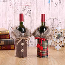 Christmas Wine Bottle Cover Merry Christmas Decor For Home 2021 Navidad Noel Christmas Ornaments Xmas Gift Happy 2022 New Year