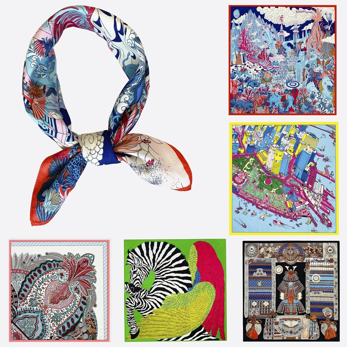 Брендовые квадратные шарфы, 100% шелковый шарф, Женская шаль, роскошный шейный платок, хиджаб, модная бандана для женщин, 53 см | АлиЭкспресс
