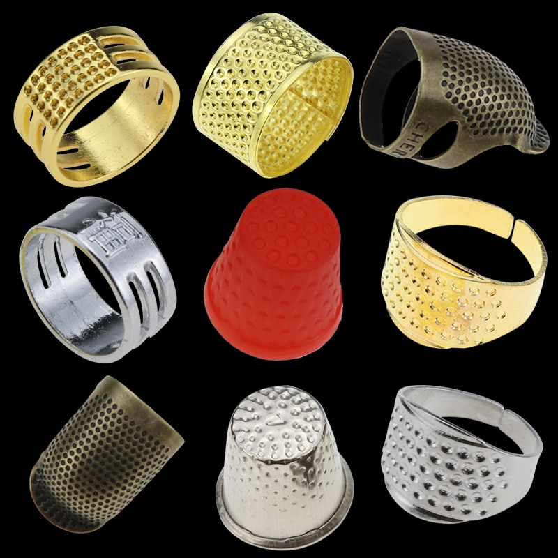 Hogar herramientas de costura bricolaje anillo de plata dedal para dedo Protector hogar acolchado accesorios para manualidades