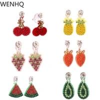 wenhq rhinestone fruit clip on earrings for women girl party birthday no pierced cherry grape pineapples hypoallergenic earrings