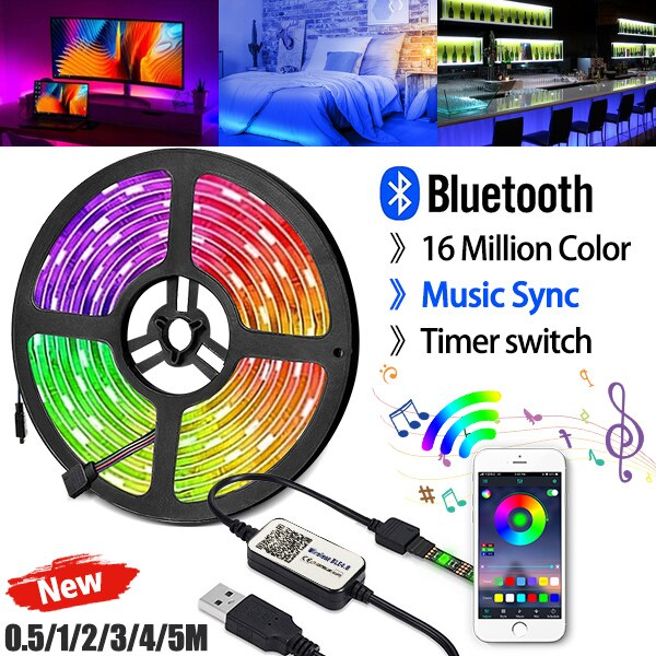 5V tira de luz LED USB de 5050 RGB Color de sueño Bluetooth Ambilight Kit para HDTV PC de escritorio pantalla iluminación de fondo de 1M 2M 4M 5M