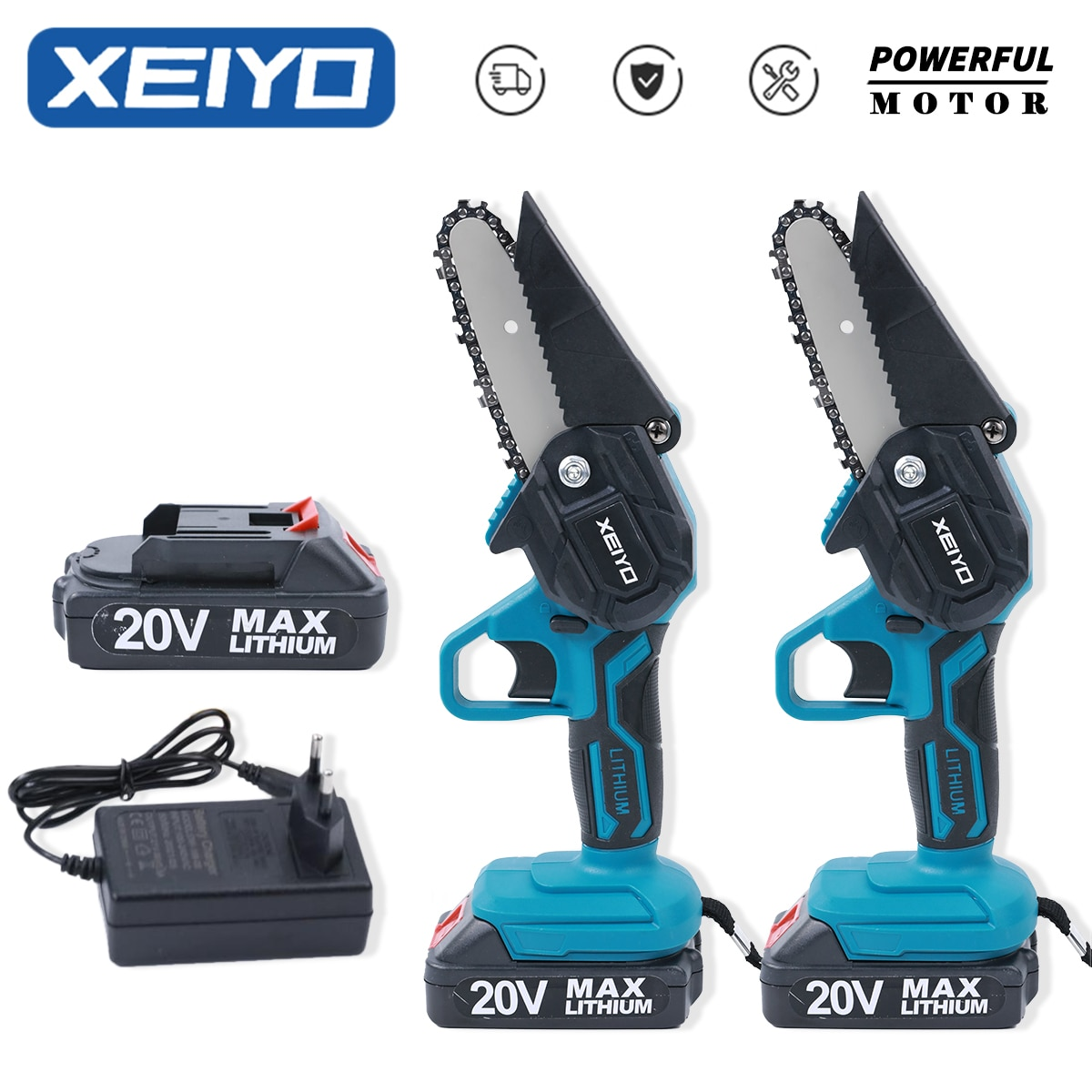 XEIYO Electric Saw 4 Inch Woodworking Garden Tools Wood Cutter Rechargeable Batteries Mini Man Chain
