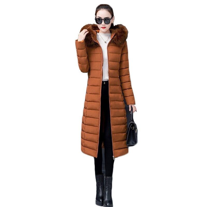 Casaco de inverno Mulheres M-4XL Caramelo Rosa Preto Cinza Plus Size Solto Coreano Grande Gola De Pele Com Capuz Parka Jaqueta de Calor Roupas LD1158
