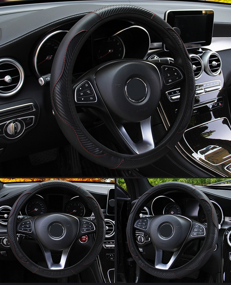 Universal Car Steering Wheel Cover Car Steering Wheel Cover Breathable Anti Slip 38cm PU Leather Covers For Car Steering