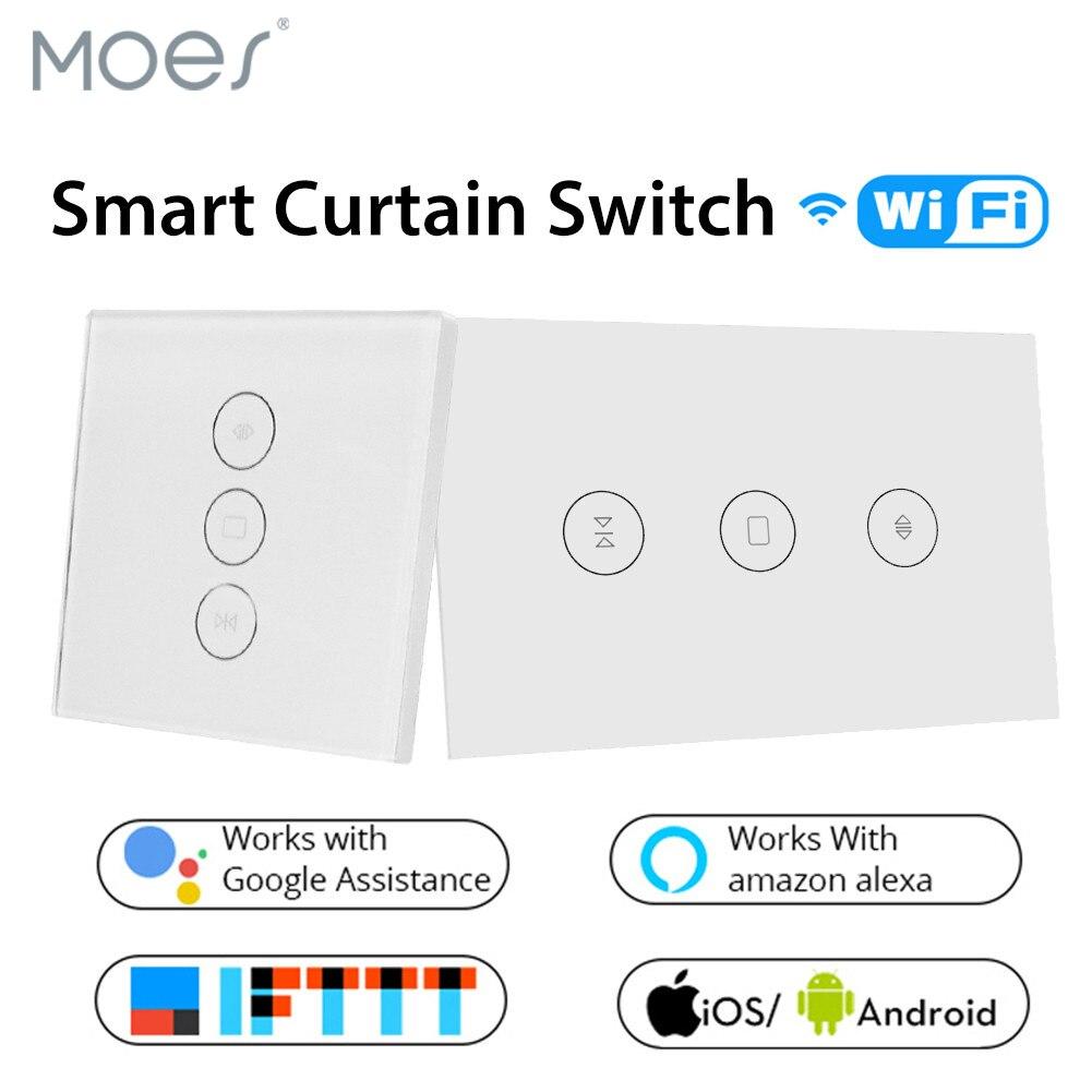 Cortina inteligente WiFi, Panel de vidrio de interruptor, aplicación remota Control funciona con Alexa y Google Home o motor de cortina eléctrica EU US