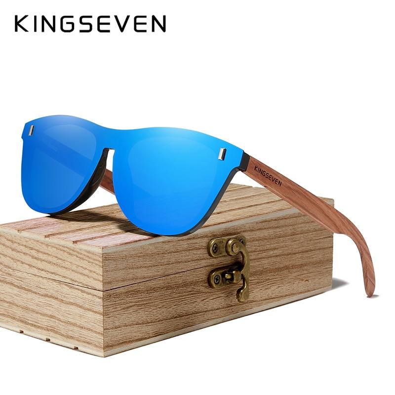KINGSEVEN Patented Design Bubinga Wood Sunglasses Vintage Integrated Polarized Men's Natural Wooden