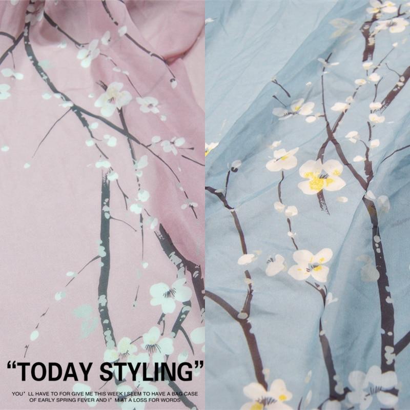 LEO & LIN Gran ancho Pinkcolor claro azules de ciruelo flor blanca de gasa 100% tela de seda Real tela de tela DIY Patchwork costura
