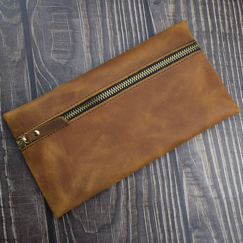 Real Leather Pencil Case High Capacity Handmade Genuine Leather Cowhide Zipper File Bag Pencilcase Office School Supplies Gift