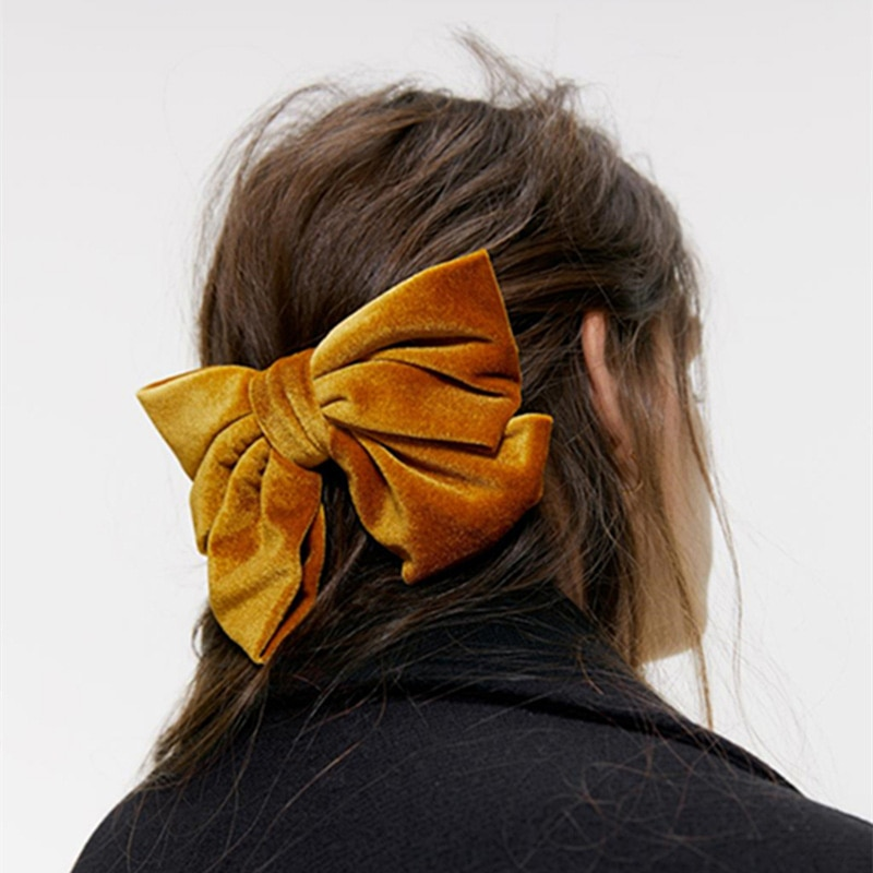 2020 nouveau velours grand nœud pinces à cheveux pour les femmes doux deux couches papillon arc épingles à cheveux fille cheveux accessoires