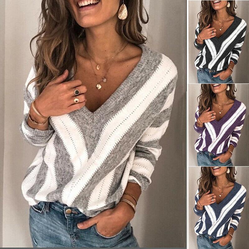 Женский полосатый свитер 2020, весенний модный свитер с v-образным вырезом и длинным рукавом, Свободный вязаный пуловер в полоску с рукавами, с...