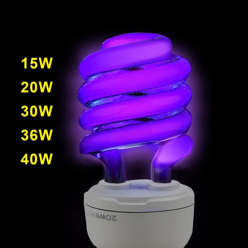 UV Light Bulb BLB Black Light Blue Fluorescent CFL UV Ultraviolet Lamp E27 220V Spiral  Lure lamps Violet Decor15W-40W UV lamp