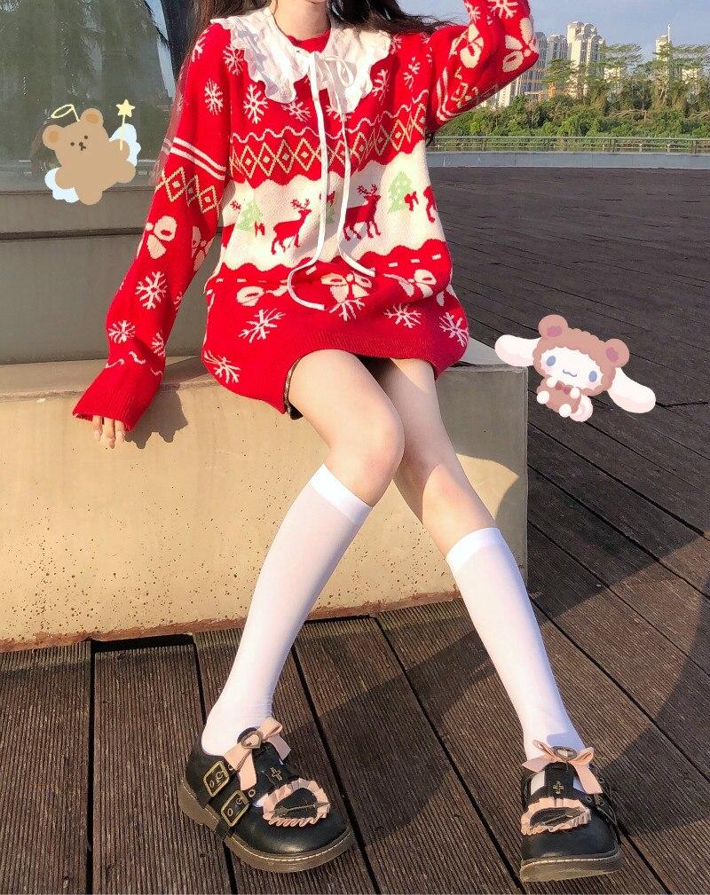 Red Deer JK Sweater Coats V Neck Navy Sailor Suit Japanese School Uniform Sweater Girls Pleated Vintage Coat For JK dress