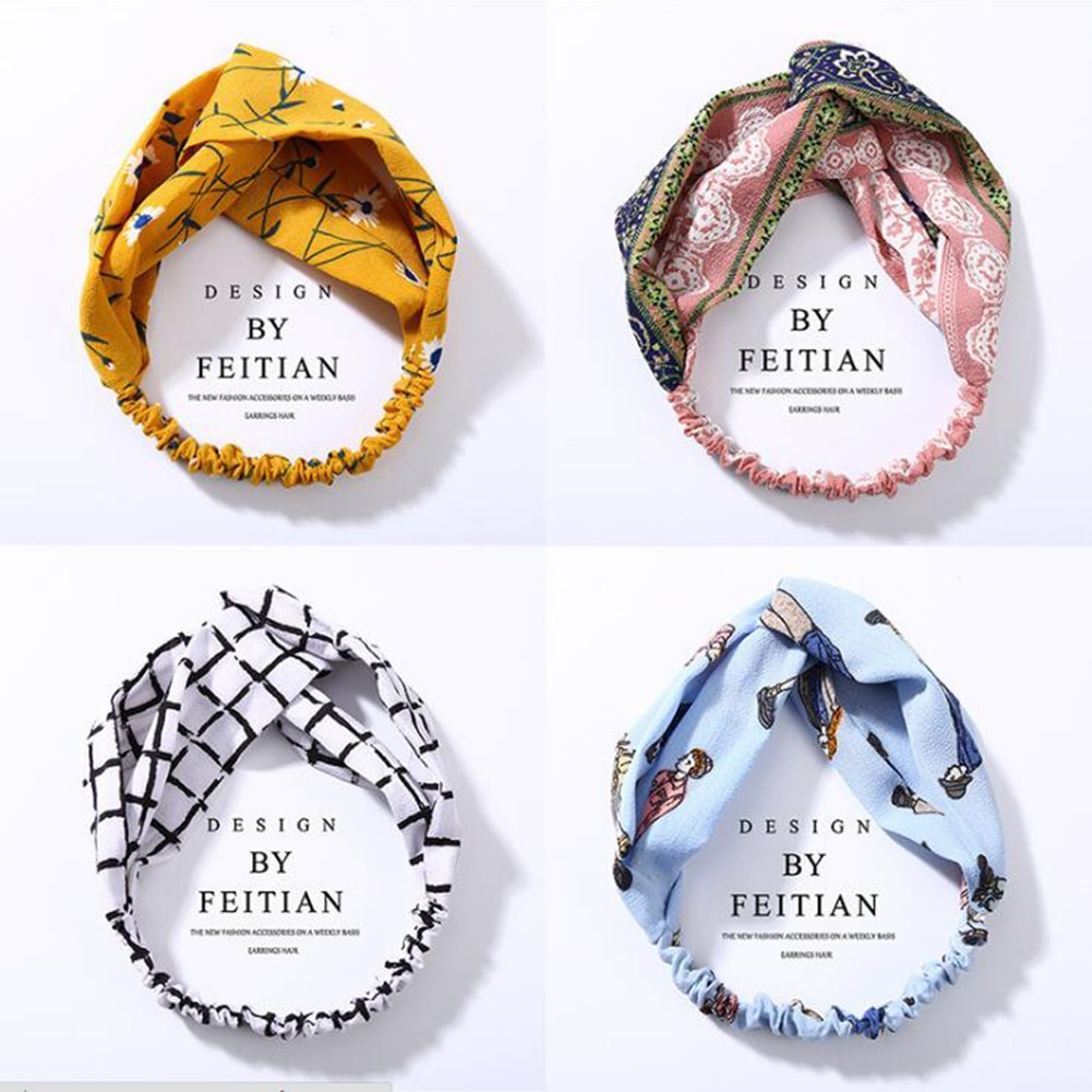 Turbante a rayas para mujer a la moda, diadema elástica envuelta en la cabeza, diadema anudada, diademas coreanas dulces, accesorios para el cabello para niñas