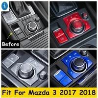 electrical park handbrake epb center multimedia knob button panel red blue silver metal cover trim for mazda 3 2017 2018