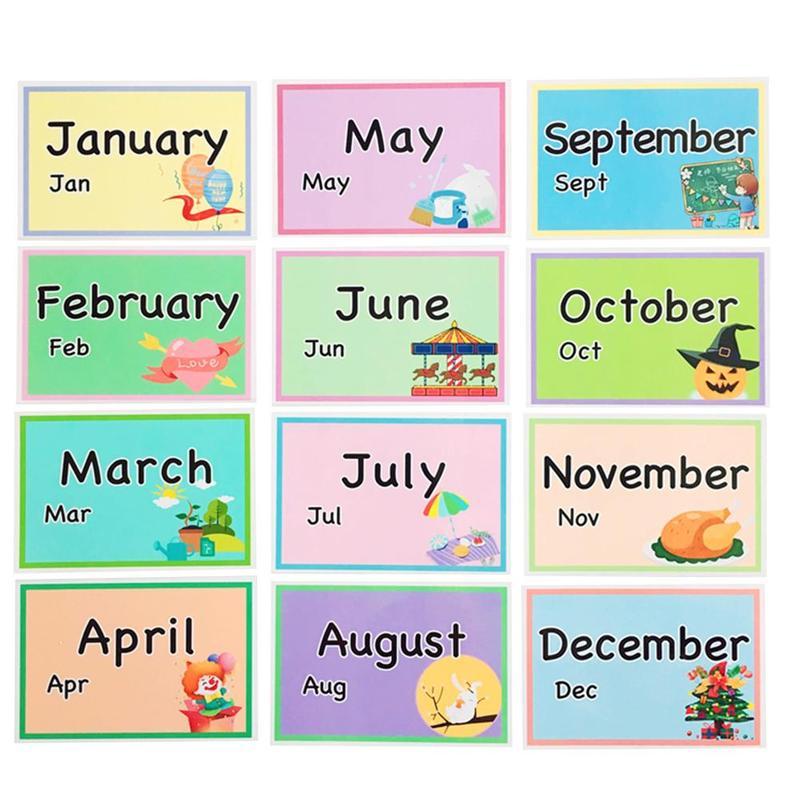 12 Uds. De tarjetas Flash de aprendizaje temprano en inglés, tarjetas mensuales para niños, tarjetas de palabras educativas de comportamiento diario, ayuda para enseñanza jardín de infantes