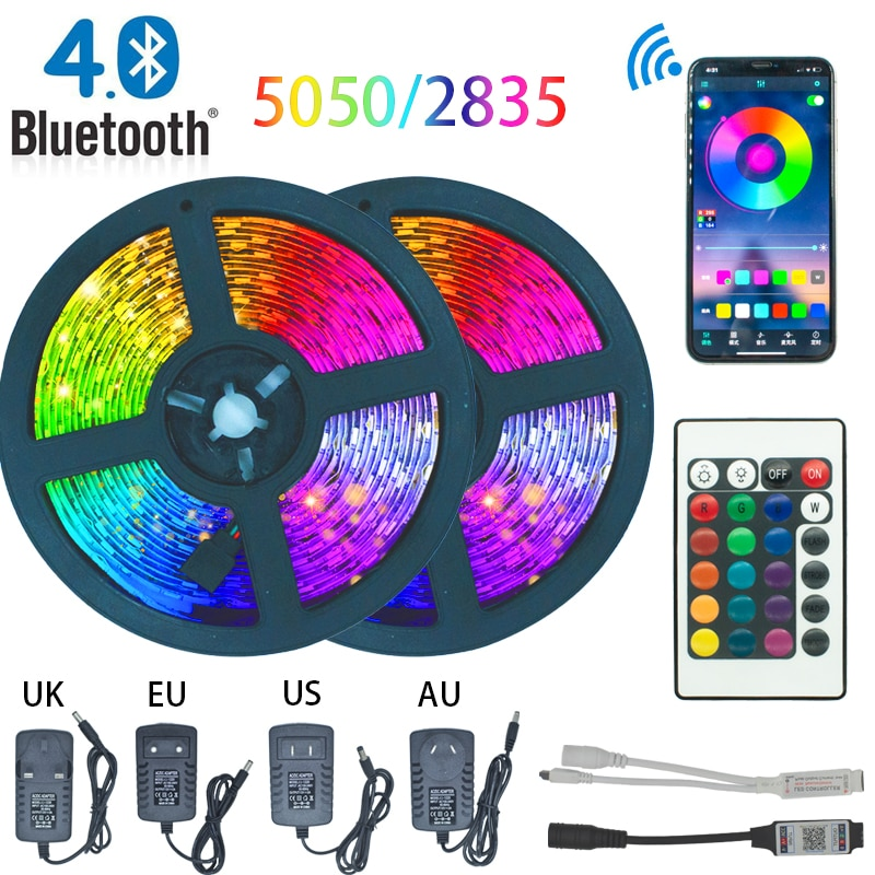LED Strip Light Bluetooth luces Led RGB 5050 2835 Waterproof Flexible Lamp Tape Ribbon With Diode Ta