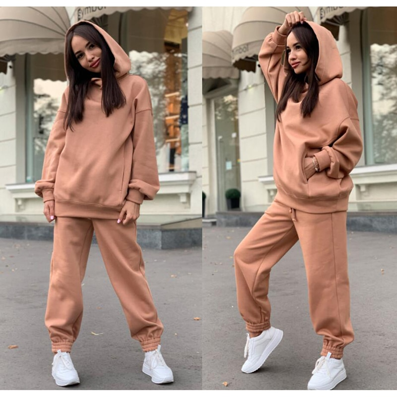 2021 Spring Autumn New Tracksuits Women's Hoodie Pants Set Oversized Long Sleeve Solid Sportwear Tracksuit Set Suits for Women