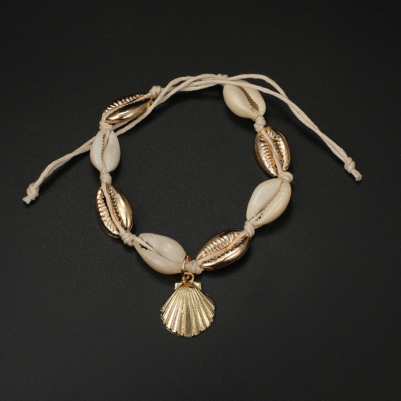 Foot Jewelry Vintage Antique Gold Color Anklet Women Conch Shell Sequins Beads Geometric Bracelet Charm Bohemian Ankle Bracelet
