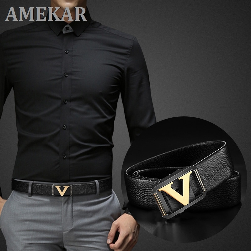 High quality Designer belts men fashion V letter luxury famous brand genuine leather belt men classi